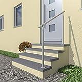 Edelstahl Treppengeländer/Außengeländer, 1m lang, 0,9m hoch, Aufmontage, je 2 Pfosten + Handlauf mit Kugelring + ohne Querstäbe + Zubehör, Winkelverstellbar (L:1000mm H:900mm)