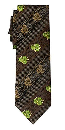 Cravate rayée folklore flowers green brown