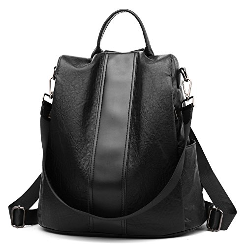 Women Backpack Purse Leather Anti Theft Waterproof Detachable Covertible Casual Travel Shoulder Bag(Black3)