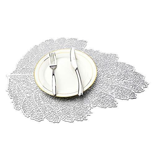 MANGATA Set de Table, PVC Set de Table Antidérapant Lavable Chaleur Résiste Set de Table (Argent-Feuilles, 10 Pièces)