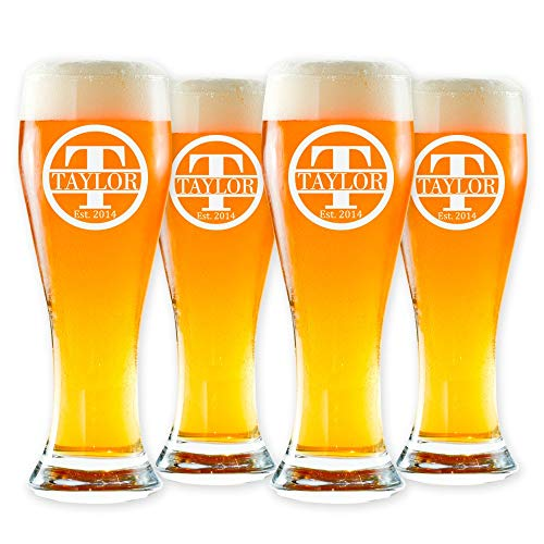Personalized Pilsner Glasses Set of 4 - Premium Made in USA Glasses - Customized The Way You Want - Cool Present for Men, Women, Young, Old Friends & Couples - Perfect for Home Bar - Etched by Froolu