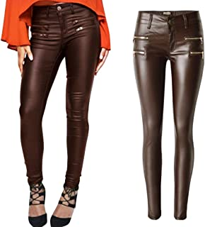 bcde62a09c456 PU Leather Denim Pants for Women Sexy Tight Stretchy Rider Leggings Black  Coffee