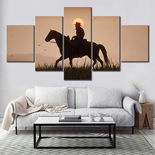 Fbewan 5 Stücke Segeltuch Gemälde Red Dead Redemption 2 Spiele Poster Gutch's Gang Arthur Morgan Western Wandkunst zum Zuhause Dekor Hintergrund Bilder,B,20x30x2+20x50x1+20x40x2
