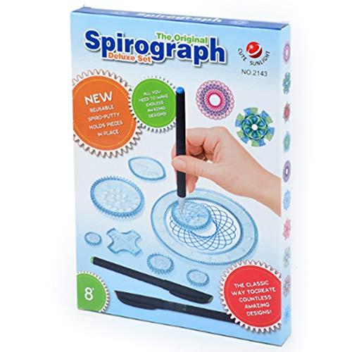 Mopoin Spirograph Kid, juego de dibujo de espirografía, 28 piezas, regla de dibujo geométrico, kit de espirografía de lujo para niños, juego de arte ideal para la creatividad, juguete educativo