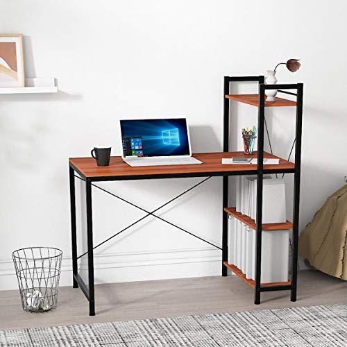 radelldar Scrivania per Computer con Libreria,Tavolo da Studio in Acciaio Legno,ideale per casa ufficio e scuola (Noce nera)