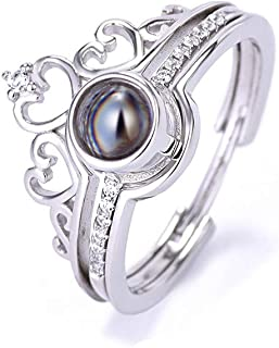 Y.Verve Anello di Proiezione con Combinazione di Corone S925 Sterling Silver 100 Lingue Ti Amo. Anello Due-in-Uno Regolabi...
