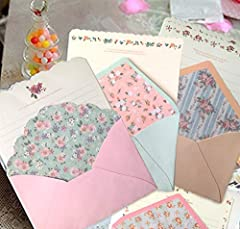 Material: Paper Writing Paper Size:7.1x5.2 inch Envelope Size:5.2 x 3.4 inch Quantity: 32 pcs Writting Paper + 16 pcs Envelope (various Styles will be sent, Every packet contains 4 writing paper and 2 envelope) Color: as the picture shows(Randomly co...