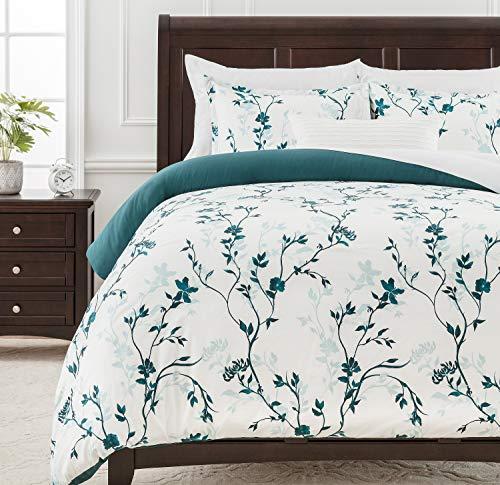 Chanasya Ultra Soft Floral Print 3-Piece Bedding Duvet Cover Set Queen - Luxurious Cozy Double Brushed Microfiber Comforter Cover - Zipper Closure Reversible Print (1 Duvet Cover & 2 Pillowcases )Teal