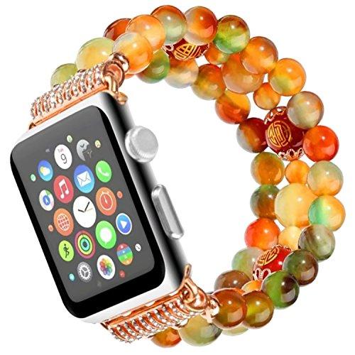 Braccialetto di Perle, Qianyou Donna Ragazza Retro Faux pietra naturale ricambio Watch Band Strap regalo con accessori Compatibile con Apple Watch 38mm 42mm Serie 3/2/1, Sport, Edition, Bunter Achat