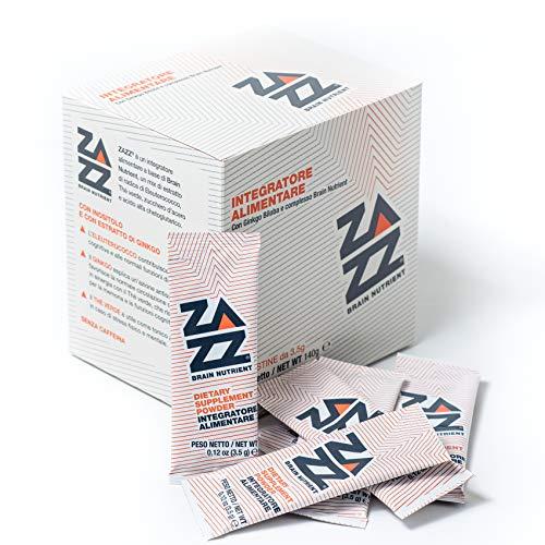 ZAZZ Brain Nutrient Integratore per Concentrazione e Memoria. Nootropico Naturale con Tè Verde, Eleuterococco e Ginkgo Biloba e zucchero d'acero (40 bustine)