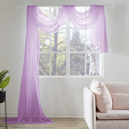 KEQIAOSUOCAI Light Purple Sheer Window Scarf Valance Sheer Fabric for Draping Curtain Toppers for Wedding Party Girls Room Bed Canopy Scarves 52 Inches Wide by 216 Inches Long Light Purple
