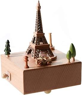 Colorzonesd Handmade Building Shape Beech Wooden Clockwork Music Box Craft Decoration (D)