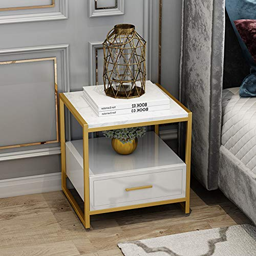 HBHHB Nordic Style slaapkamer ladekast marmer oppervlak Piano verf opbergkast metaal sterk en stevig nachtkastje voor thuis 50 * 40 * 50Cm