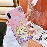 Slim Fit Smooth Soft TPU Pink Sailor Moon Case for iPhone X iPhoneX Ultra Sleek Japan Anime Cartoon Protective Shockproof Hot Cute Lovely Fashion Princess Japanese Gift Little Girls Teens Kids Women