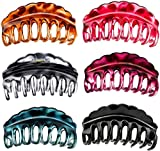 Lawie 6 Pack Large Clear Leopard Black Brown Octopus Plastic Hair Claw Clips Crab Jaw Barrettes Grips Clamps Clasps Pin Buns Braids Twist Hair Up Fancy Accessories for Women Girl Thin Thick Hair