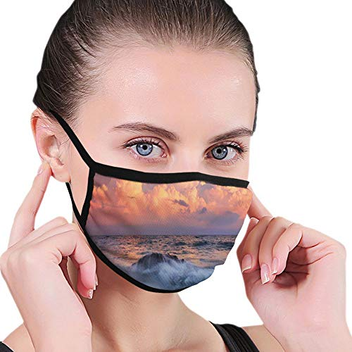 Nisdsgd Multifunctional Cloth Washable Half ,Stormy Sky Dense Clouds at Horizon and Wavy Sea at Rocky Bay at Sunrise,Soft Mouth Cloth Breathable Mouth Cover Anti-Dust Dustproof for Outdoor Use