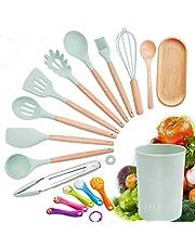 AILI Juego de utensilios de cocina | Utensilios de cocina de silicona | Utensilios de espátula resistentes al calor con mango de madera para ollas antiadherentes y antiarañazos 12 piezas