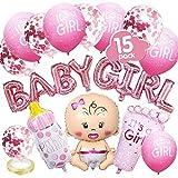 VDSOW Babyparty Deko, Rosa Gender Reveal Party Dekoration mit Mädchen Ballon/Baby Girl Ballon Banner/Konfetti Luftballons/Es ist EIN Mädchen Ballons/Babyflasche, Fußförmige Helium Folienballon/Band