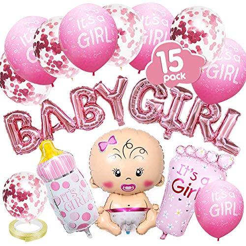 VDSOW Decoraciones para baby shower, decoración de revelación de género con globo de niña niño/pancarta de globo de bebé/5 globos de confeti/5 globos de niña niño/biberón, globos en forma de pie/cinta
