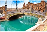 Puzzle 1000 Piezas Sevilla Sevilla Plaza De España Puente Andalucía España Plaza Arte Bricolaje para Adultos Mayores Adultos
