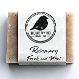 BLUEBYRD Soap Co. Rosemary Frankincense & Mint All Natural Essential Oil Soap Bars | Herbal Face & Body Soap for Men & Women Handmade in USA | Vegan, Cruelty-Free, Eco-Friendly, Paraben Free, Made with Minimal Ingredients, Sulfate-Free, 5oz. ROSEMARY)