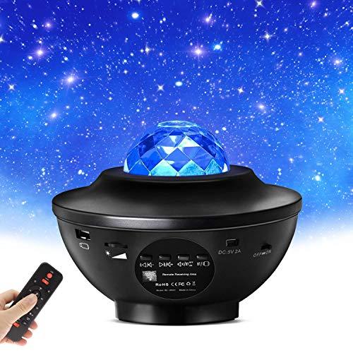 Sternenhimmel Projektor Starry Projector Light - LED Galaxy Light Projector mit Wasserwellen und Bluetooth-Lautsprecher für Baby Kinder Erwachsene Party und Weihnachten
