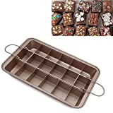 Non Stick Brownie Pans with Dividers, High Carbon Steel 18-Lattice Brownie Baking Tray for for Oven Baking, Slice Solutions Cake Bakeware