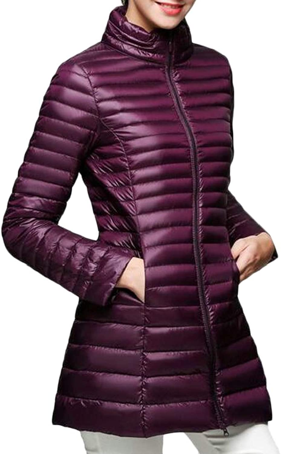 Generic Womens Light Weight Solid Long Puffer Down Parka Jacket