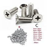 Kit de tornillos, 250 PC/SET A2 Acero inoxidable M3 Cap/Botón/Tornillos de cabeza plana Conjuntos Tornillo de zócalo hexagonal con kit de surtido de tuercas hexagonales para reparadores, bricola