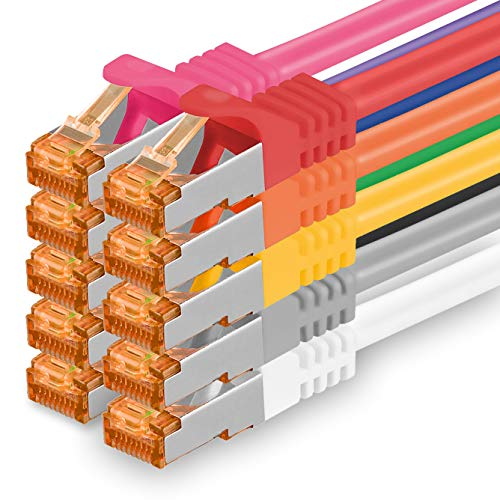 0,5m - Cat.7 Netzwerkkabel 10-Farben - 10 Stück Gigabit Ethernet LAN Kabel 10000 Mbit s Patchkabel Cat7 Kabel S FTP PIMF Schirmung LSZH Cat.7 Rohkabel Rj45 Stecker Cat 6a - 10 x 0,5 Meter