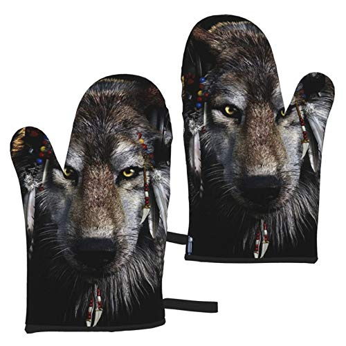 Ye Hua Native American Wolf Oven Mitts BBQ Gloves - Recycled Cotton Infill Non-Slip Cooking Gloves for Kitchen Cooking Baking Grilling