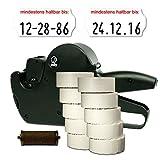 Set: MHD Datum Etikettierer Jolly C8 für 26x12 inkl. 15.000 HUTNER Etiketten weiss permanent-Aufdruck: mindestens haltbar bis + 1 Farbrolle  HUTNER