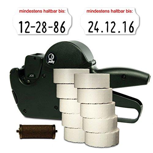 Set: MHD Datum Etikettierer Jolly C8 für 26x12 inkl. 15.000 HUTNER Etiketten weiss permanent-Aufdruck: mindestens haltbar bis + 1 Farbrolle |HUTNER