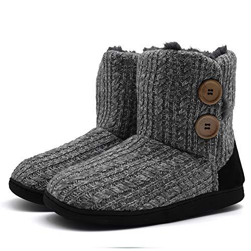 KuaiLu Damen Slipper-Stiefel Gestrickte pelzige Drinnen/Draußen Hausschuhe gemütliche Slouch Pantoffeln,Hellgrau,40/41 EU (XL)