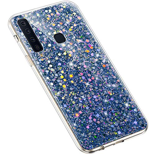 Uposao Compatible con Samsung Galaxy A9 2018 Funda Silicona Transparente,Purpurina Carcasa Bling Glitter Brillante Brillo Paillettes Funda de Protectores,Fina TPU Suave Flexible Funda Case Caja,Azul