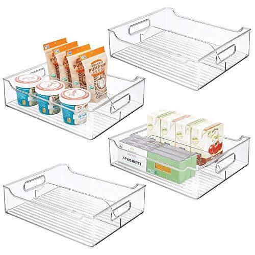 mDesign Juego de 4 cajas organizadoras con asas – Contenedor de plástico con 2 divisiones para almacenar alimentos – Cajón de cocina de plástico para el armario de la cocina o la nevera – transparente