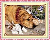 クロスステッチ刺繍キット 仲良し犬と猫 図柄印刷 A451