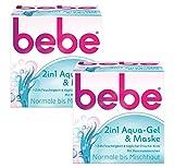 bebe 2in1 Aqua-Gel & Maske - Kühlendes Feuchtigkeitsgel & Feuchtigkeitsmaske - für Normale bis Mischhaut - 2 x 50ml