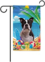 BAGEYOU Hello Summer My Love Dog Boston Terrier On The Beach Garden Flag Cute Puppy Children Toy Lemon Juice Watermelon Flip Flop Tropical Palm Decor Banner for Outside 12.5X18 Inch Print Double Side