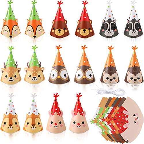 16 Pieces Animal Party Cone Hats DIY Animal Paper Cone Hat Cartoon Birthday Hats Colorful Art Craft Caps for Kids Adults, Animal Party Decoration Game Supplies