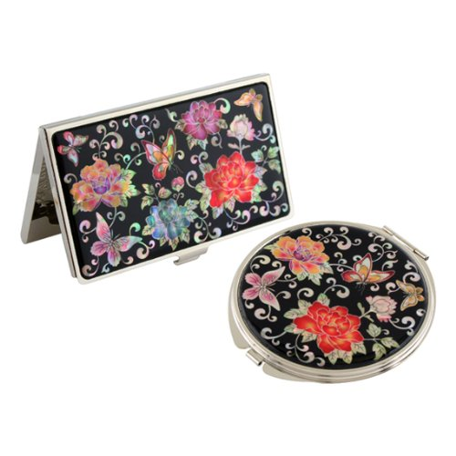 Nacre Rouge Pivoine Fleur Miroir compact pour nom de crédit carte de visite de en acier inoxydable gravé fin ID l'argent Coque