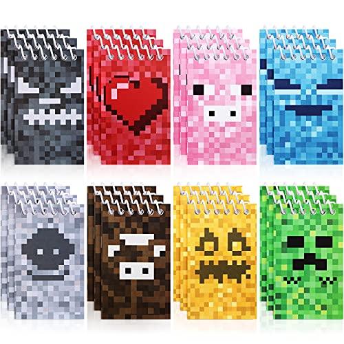 24 Mini Blocs de Notas de Píxeles, Mini Cuadernos de Bolsillo de Estilo Minero Multicolor Suministros de Clases Profesor de Fiesta de Tema de Videojuego de Revista Pixelada, 8 Tipos