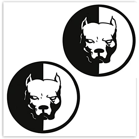 Skinoeu 2 Stück Vinyl Lustiger Aufkleber Autoaufkleber Stickers Angry Dog Böser Hund Pitbull Auto Moto Motorrad Fahrrad Skate Helm Fenster Spiegel Tür Tuning B 5 Auto
