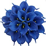 Duovlo 20pcs Calla Lily Bridal Wedding Bouquet Lataex Real Touch Artificial Flower Home Party Decor (Royal Blue)