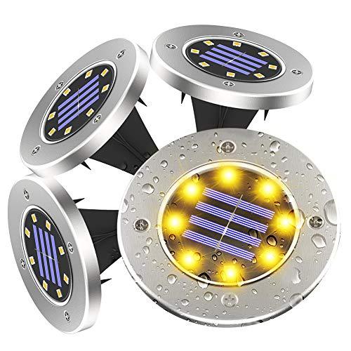 Luce Sepolta Solare, 8 LED Luci Solari per Giardino IP68 Impermeabile Lampada Solare Faretti Solari da Giardino per Vialetto Scala Paesaggio Strade Aiuola, Acciaio Inox, Bianco Caldo, 4 Pezzi (warm)