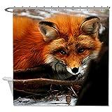 rioengnakg Schimmelresistent Stoff Fox Duschvorhang Polyester Duschvorhang wasserdicht, Polyester, #1, 66