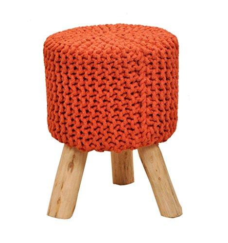 Zitkruk barkruk kruk met houten poten Scheme Ø 55cm l met katoenen bekleding handgeknoopt | Natuurlijk bewerkt | handgemaakt | Kruk groot of klein | keuze uit verschillende kleuren (oranje TA), 45cm)