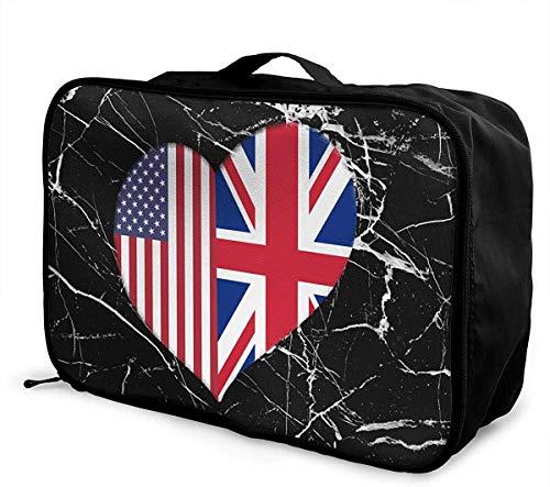 Bolsa de Viaje Grande con diseño de corazón de la Bandera británica Americana