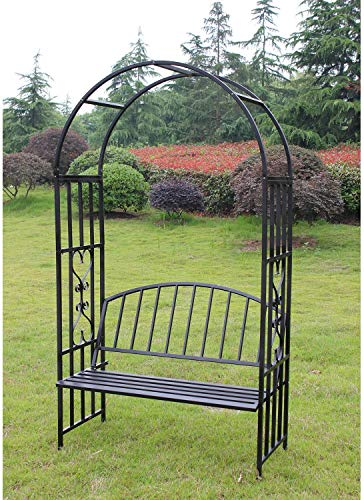 Peach Tree Outdoor Metal Steel Garden Arch with Seat Bench 6' 9' H x 3' 9' W Arbor Weather Resistant Wall Art Climbing Plant Lawn Backyard