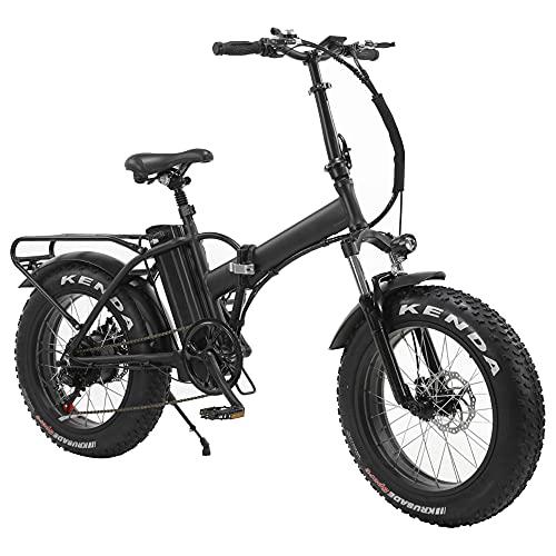 TGHY Bicicleta Eléctrica Plegable Neumático Grueso de 20' Motor de 350W Batería de Litio Extraíble 48V 10Ah Asistencia Al Pedaleo 6 Velocidades Bicicleta Eléctrica para Playa/Nieve